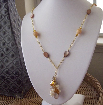 Y Style Dangle Wire Wrapped Necklace w Spring Back Clasp