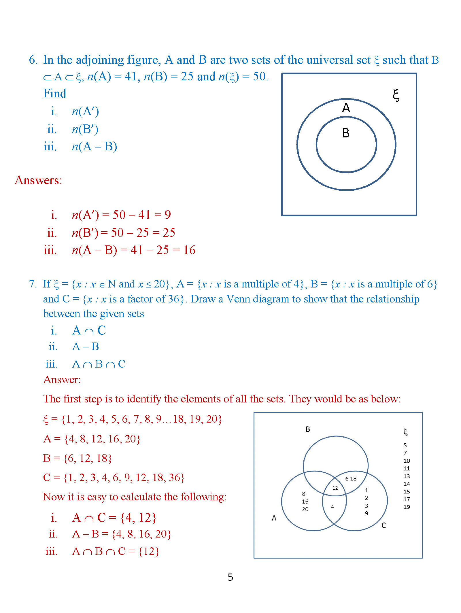 Class 8 Venn Diagrams Exercise 2 Icse Isc Cbse