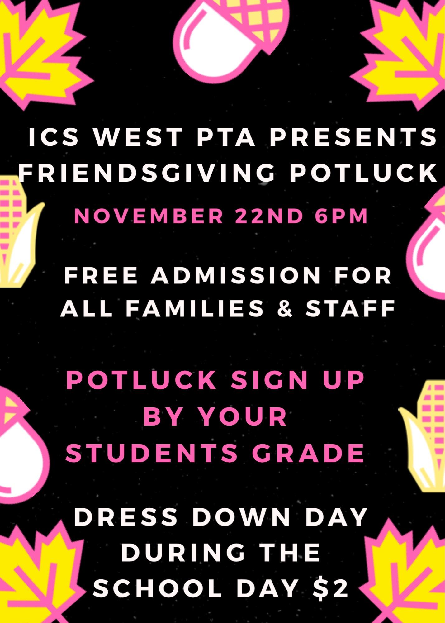 Ics West PTA Friendsgiving Potluck