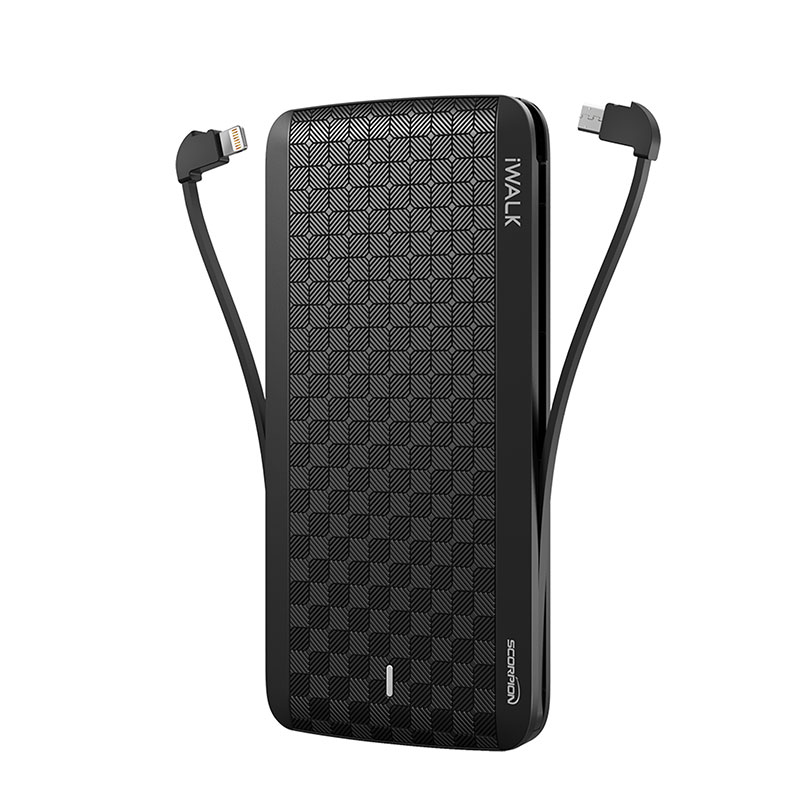 "iWALK ""Scorpion12000X Powerbank with 4 Built-in Cables"