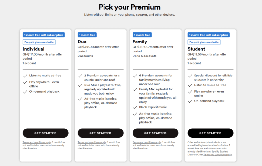 Spotify Prices, Plans And Offers In Ghana