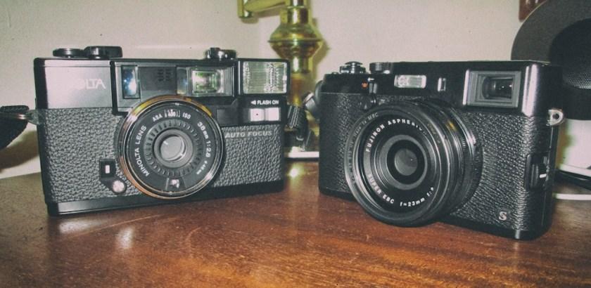 Minolta AF2 and Fuji X100S