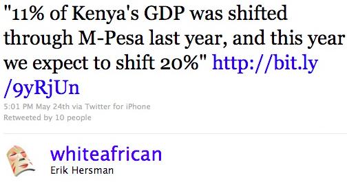 Safaricom's M-Pesa to Transfer 20% of Kenya's GDP in 2010