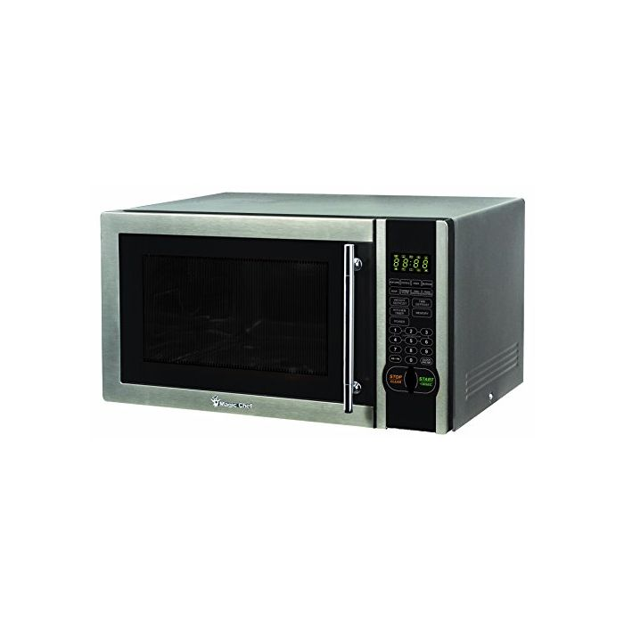 magic chef 1 1 cu ft 1000w countertop microwave oven with stylish door handle black