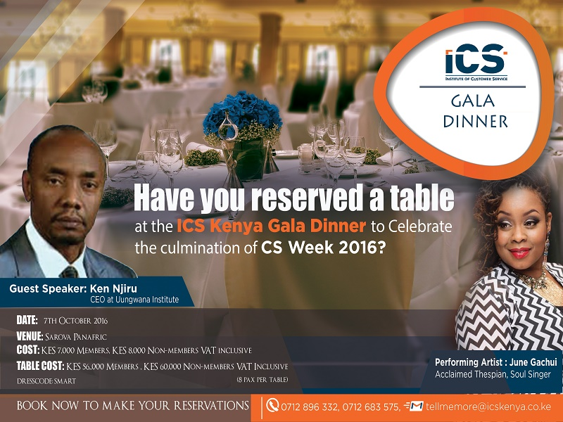 ICS Kenya Gala Night 2016, Celebrate Customer Service Excellence Champions
