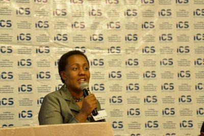 Carolyne Gathuru, ICS Board member, welcoming the guests to the Breakfast Forum 2