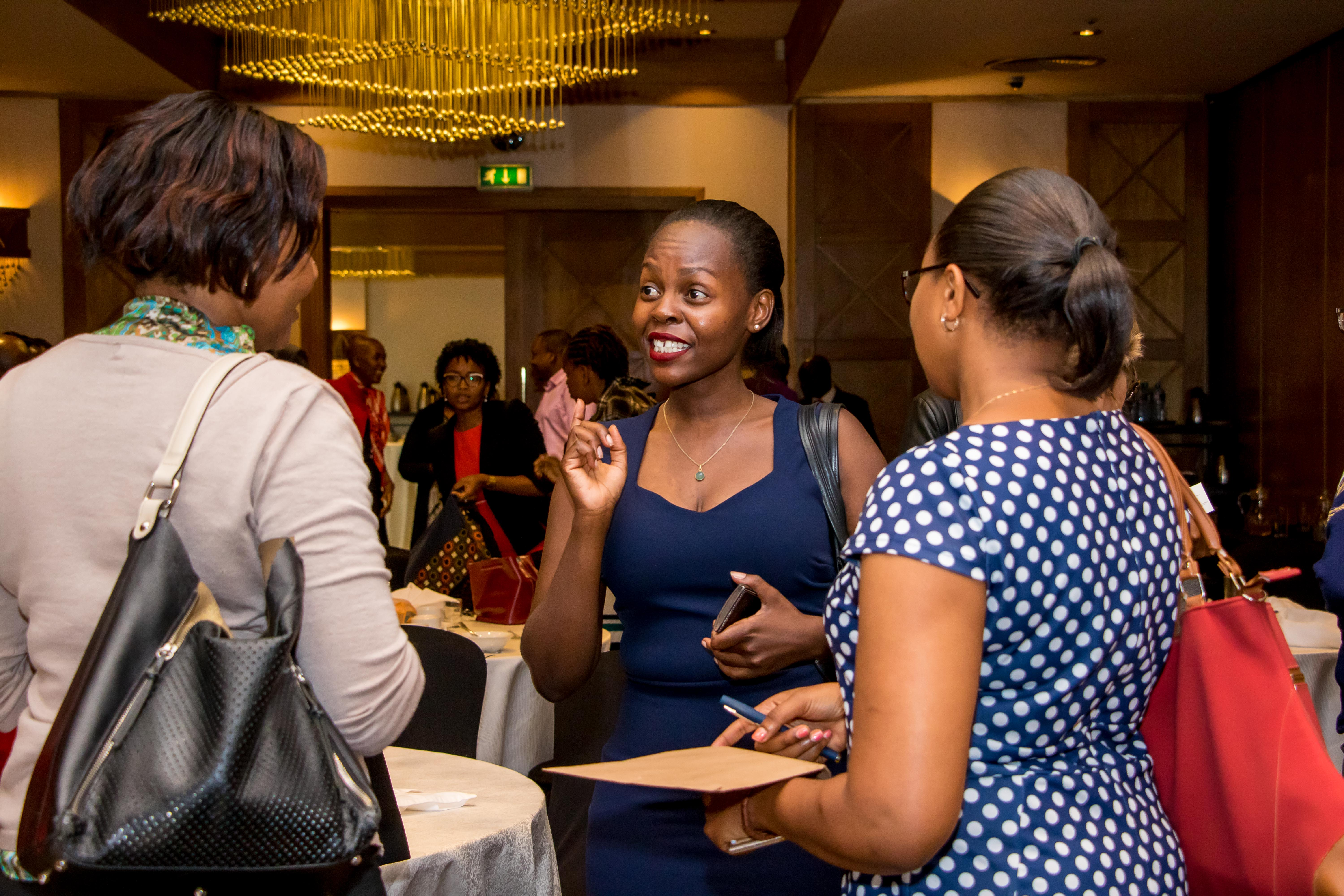 Guests networking after the event