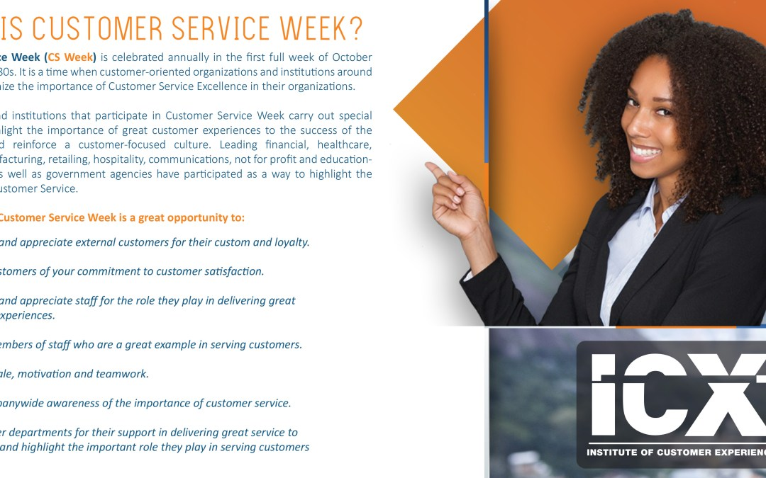 Customer Service Week Theme 2018 – Sustaining Customer Experience Excellence