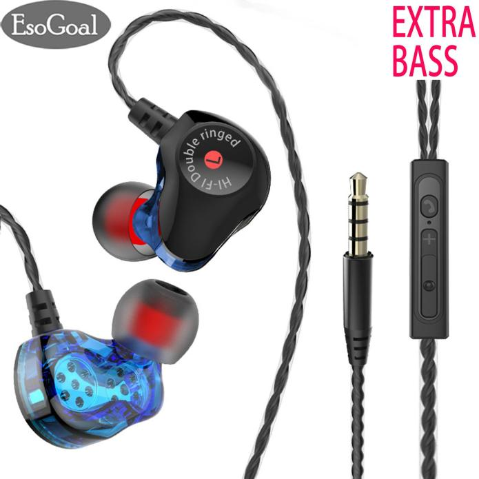 EsoGoal In-ear Headphones In Ear Headphones Noise Canceling Earphone HiFi Earbuds with Dual Driver Bass Earphone Headset for Running Sports with Mic