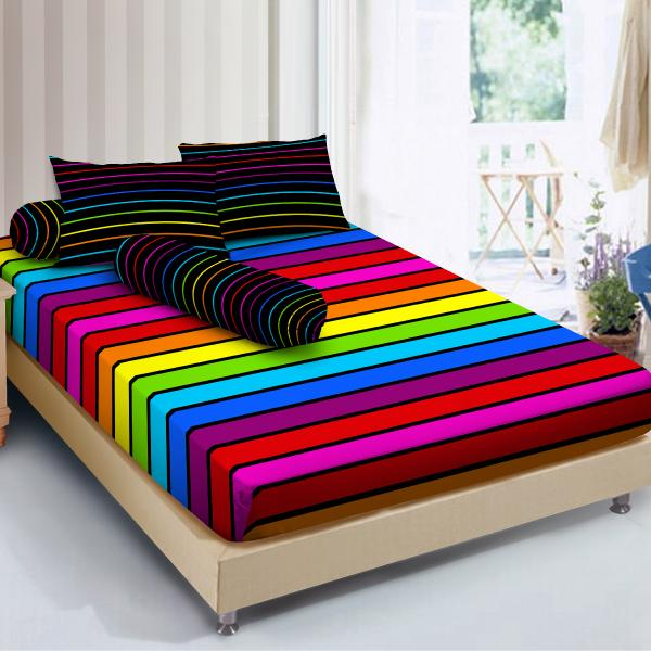 Isthana Collection Sprei Kintakun D'luxe 120x200x20cm Rainbow (Ukuran Single Size - Kasur No. 3)
