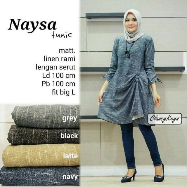 Baju Original Naisa Tunik Linen Rami Pakaian Cewek Atasan Wanita Muslim Muslimah Blouse Panjang Simple Trend 2018