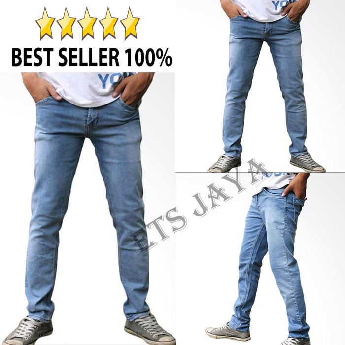 Celana Panjang Jeans Pria ICE BLUE / Jeans Pensil Slim Fit / /Jeans