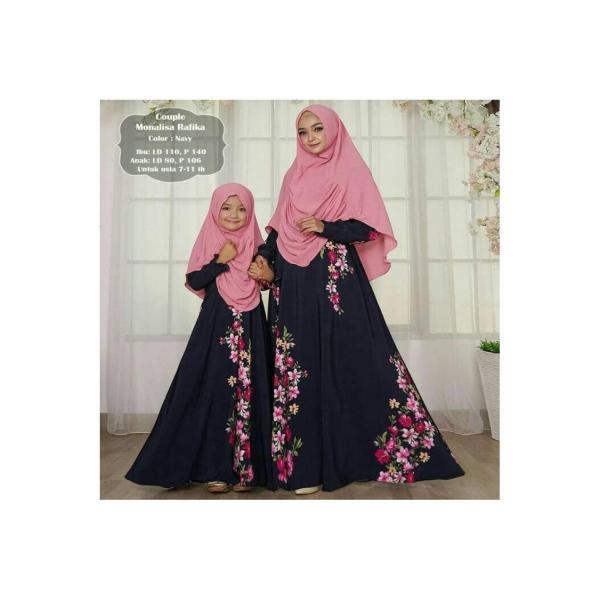 Gamis couple monalisa rafika | baju muslim pasangan ibu anak perempuan