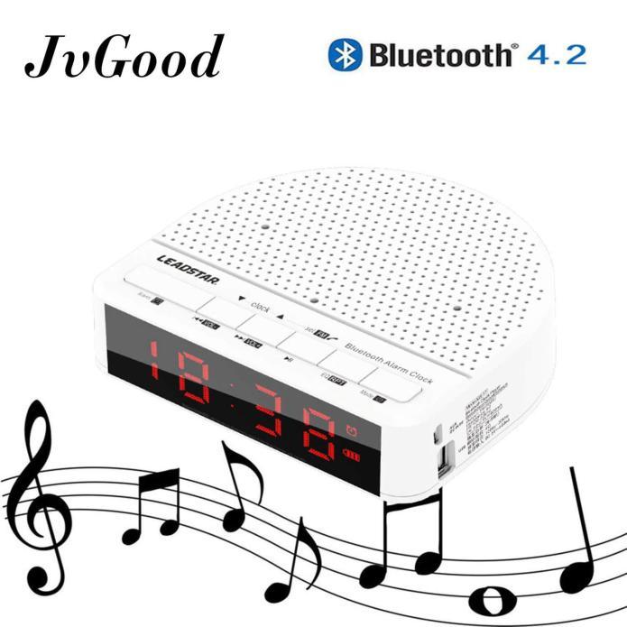 JvGood Wireless Desktop Bluetooth Stereo Speaker Time LED Display Alarm Clock/Phone Holder/USB TF Card Play/Bluetooth 4.2/AUX Input/FM Radio