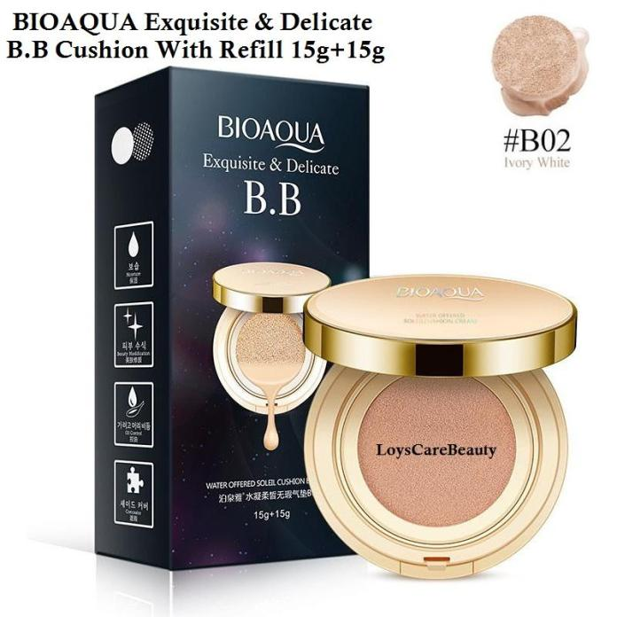 BIOAQUA Exquisite & Delicate BB Cushion With Refill ORIGINAL - Bioaqua BB Cushion Gold Free Refill 15g+15g - 02 IVORY WHITE