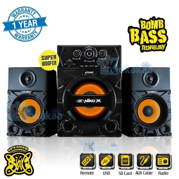 Niko Slank Speaker Atomic Super Woofer Bomb Bass Technology Pengeras Suara + Bluetooth 35 Watt