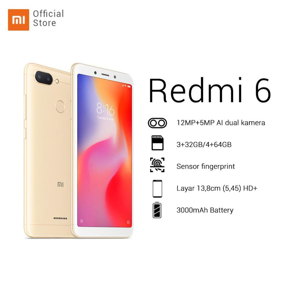 "Hasil gambar untuk Redmi 6 3/32GB + dual camera 12MP + 5MP HD 5,45"" AI face unlock 12nm Octa-core processor baru 2+ 1 slot Battery 3000mAh"