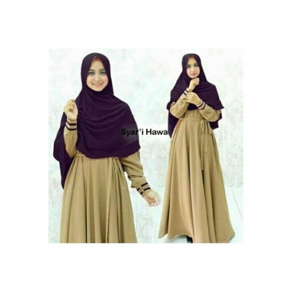 Baju Pengantin Muslimah 120297 GAMIS WANITA SYARI HAWA COKLAT - UNGU