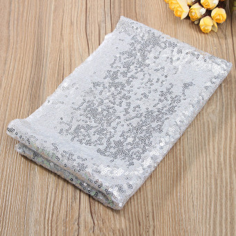 1pcs sparkly silver sequin table cloth for wedding birthday