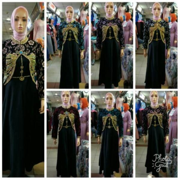 Realpict Gamis Cardi Bahan Bludru Payet Dress Velvet /- Gamis Dian Pelangi