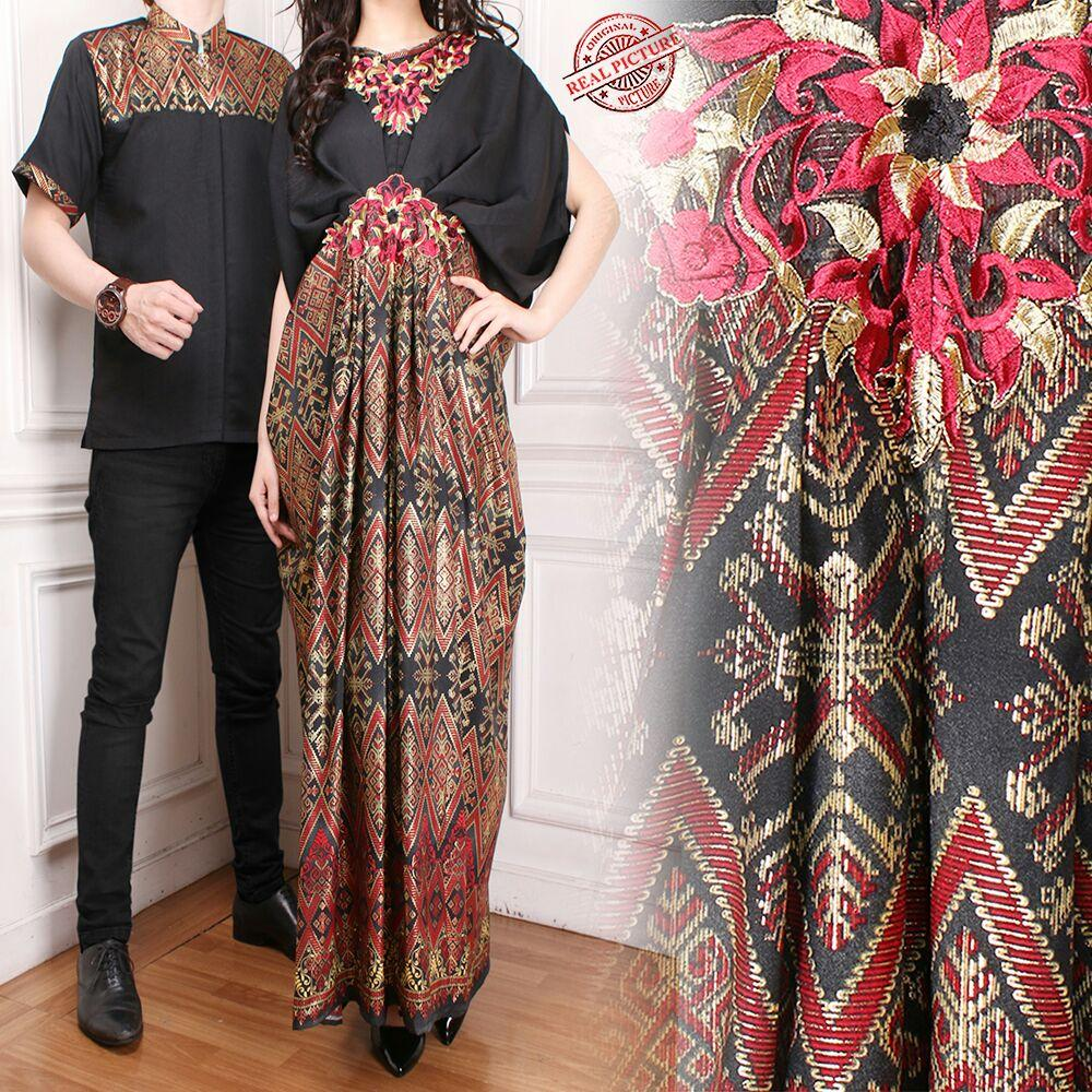 SB Collection Couple Dress Maxi Aleda Kaftan Jumbo Dan Kemeja Muslim Batik Pria