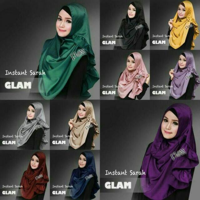 Jilbab/Kerudung Pashmina Instan Satin Velvet untuk PESTA, Sarah Glam
