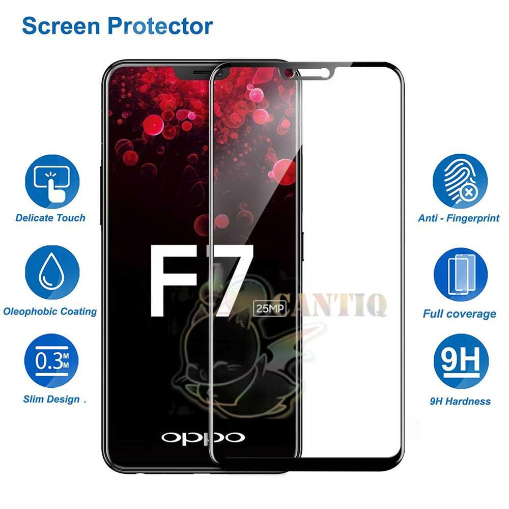 QCF Tempered Glass Full Screen Oppo F7 2018 (Only Depan) / Screen Protector Oppo F7 Ukuran 6.23inch / Tempered Glass Oppo F7 / Anti Gores Kaca Oppo F7 / Screen Guard Oppo F7 Temper Glass Oppo F7 - Hitam