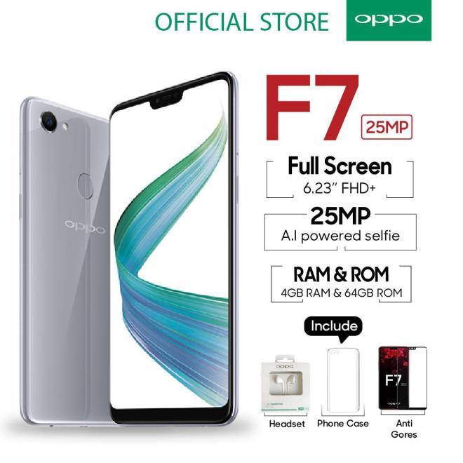 OPPO F7 4GB/64GB Silver - 25 MP Ai Camera (Garansi Resmi Oppo Indonesia, Cicilan Tanpa Kartu Kredit, Gratis Ongkir)