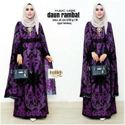 Baju Gamis Batik Wanita - Dress Panjang Batik Daun Rambat