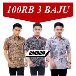 Baju Batik Pria 100 Ribu dapat 3 Hem Lengan Pendek Motif Random