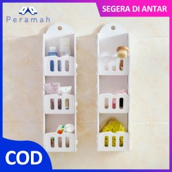 ã€COD】Peramah Rak Dinding Three Layer Rak Dinding PVC Fence Wall Shelf Storage Space Saver
