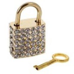 Bolehdeals Diamante Square Bentuk Gembok dengan Kunci Perjalanan Locker Set Liontin Golden-Intl