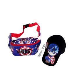 2in1 Tas Selempang/Waistbag Anak Karakter + Topi LED - Waistbag Anak