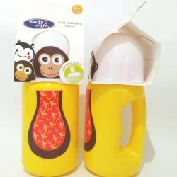 BABY SAFE BOTTLE SILICONE SPOUT (Botol Sedotan Anak 300ml) - Kuning (Monkey)