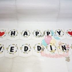 Banner / Bunting Flag Happy Wedding Motif Love Merah / Banner Pernikahan / Banner Bridal Shower