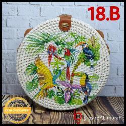 20cm Tas Rotan Bali Lukis Deco 18B By GBM / Tali Gesper Bisa Di Atur
