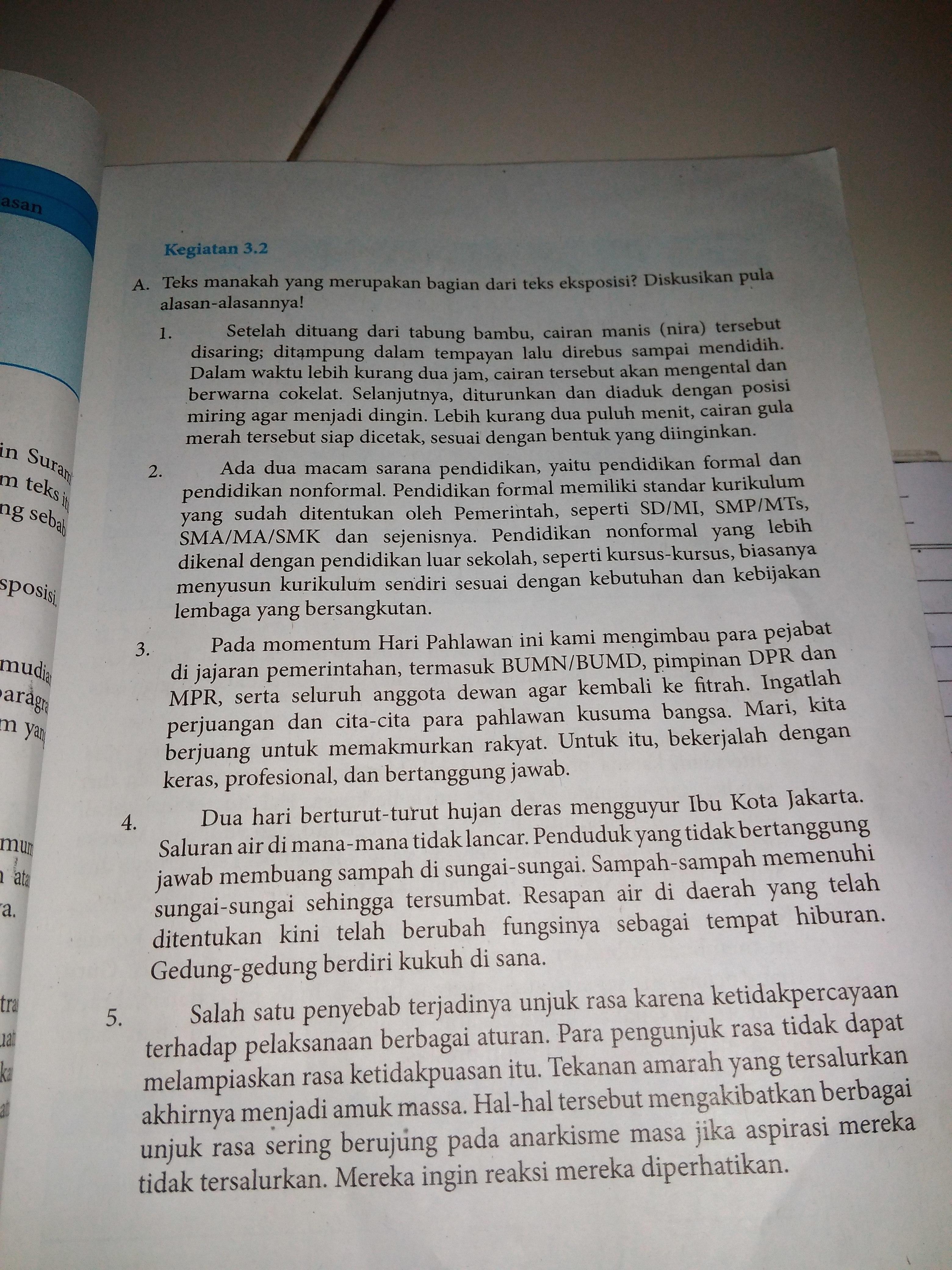 Plis Kerjakan Tabel Kegiatan 3 2 Bahasa Indonesia Kelas 8