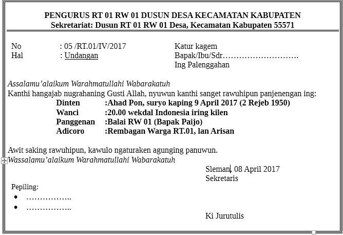 Contoh Surat Undangan Ulang Tahun Dalam B Jawa Brainly Co Id