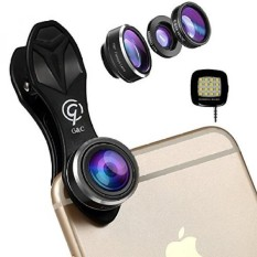 3 In 1 Cell Phone Camera Lens Kit dengan Senter. 198 ° Fisheye Lens.15X Macro Lens.0.63X Wide Angle Lens. untuk IPhone. GALAXY. IPad. Pixel dan Paling Smartphone Oleh G & C-Intl