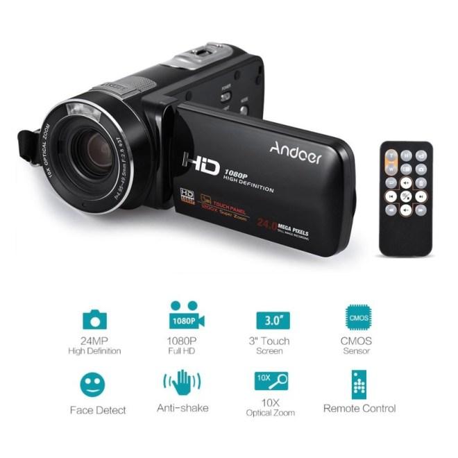 Andoer HDV-Z80 1080 P Penuh HD 24MP Digital Kamera Perekam 10X Zoom Optik Anti-Shake Deteksi Wajah dengan 3 Inci Layar Sentuh LED Ringan Jarak Jauh Pengendali-Internasional