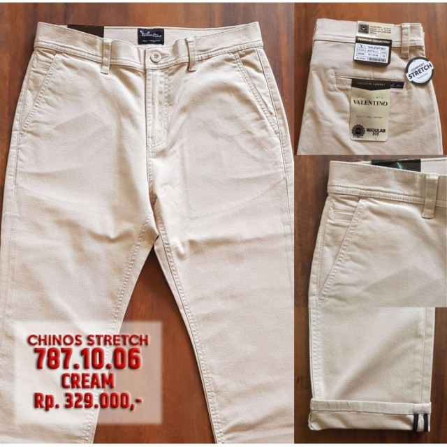 Celana Chino Panjang Pria Warna Cream - Dark Grey - Khaky / Brown - Bahan Stretch
