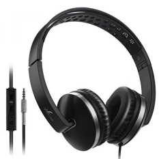 Headphone Yang Dapat Dilipat dengan Mikrofon, Vive Sisir Stereo Ringan Adjustable PC Headset Wired Headphone dengan Volume Control untuk Tablet, Smartphone, Video Game, Laptop-Hitam-Intl