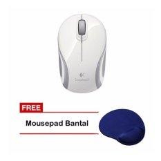 Logitech Mouse Wireless Original M187 - Putih + Mouse Pad Bantal
