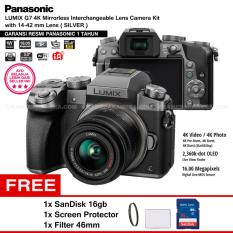 Panasonic DMC-G7K Silver - Kamera Mirrorless G7 WiFi 4K 16MP + Lumix G Vario 14-42mm/ F3.5-5.6 II ASPH (Garansi Resmi) + Screen Protector + SanDisk 16GB + Filter 46mm