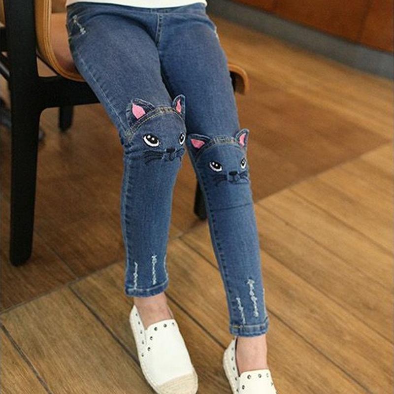Spring Busana Anak-anak Fashion Jeans Celana Legging Girls Kartun Cat Anak-anak Pensil Panjang-Intl