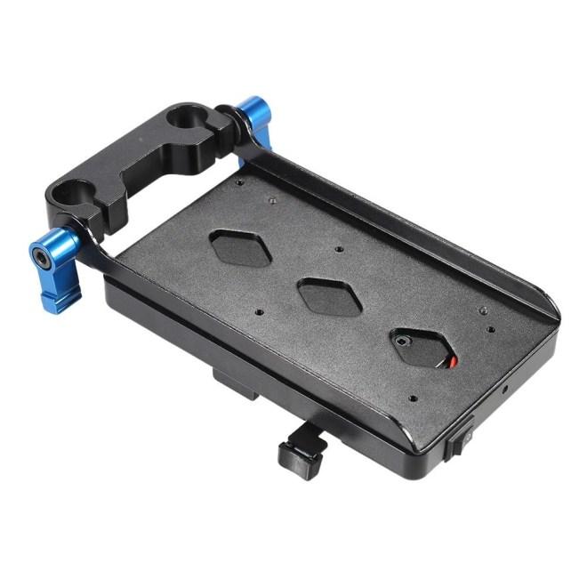 V Tipe Plate dengan 15mm Rod Clamp E6 Adaptor untuk Sony V-mount untuk Canon 5D2 5D3 60D 7D 6D DSLR Rig untuk BMCC BMPC-Intl