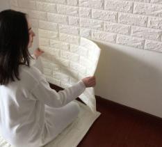 3D Pola Batu Bata Wallpaper Kamar Tidur-ruang Tamu Modern Dekorasi Dinding Belakang TV (putih)-International