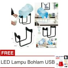 Lanjarjaya Rak Galon Tatakan Galon + Kran Air Galon / Dispenser Air Galon / Dispenser Minuman / Tatakan Aqua / Rak Besi Warna Random + LED Lampu Bohlam USB