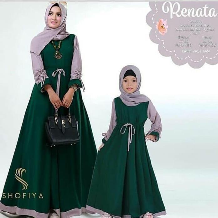 Baju Renata Couple Ibu dan Anak Moscrepe Muslim Hijab Gamis Terbaru 2019 Modern Original Fashion Perempuan Casual Muslimah Modis dan Fashionable
