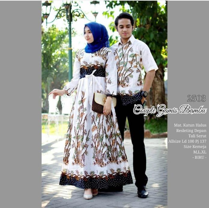 TERMURAH - Batik Couple / Couple Batik / Baju Muslim Wanita Terbaru 2018 / Batik Murah / Batik Sarimbit / Baju Batik Modern / Batik Kondangan / Batik Keluarga / Batik Pekalongan - Baju Batik Couple Gamis Bambu